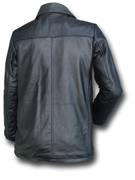 GTH BLACK LEATHER PEA COAT - Silvermans  - 2