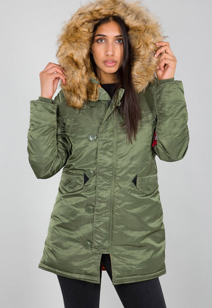 ALPHA WOMENS N3B VF59 PARKA - GREEN