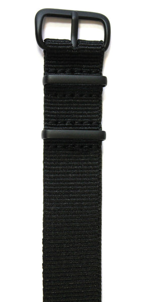 NATO STYLE WATCH STRAP - BLACK WITH BLACK
