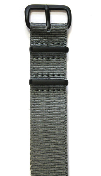 NATO STYLE WATCH STRAP - GREY WITH BLACK