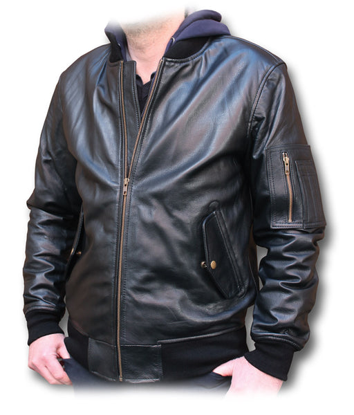 LEATHER SLIM FIT MA1 JACKET
