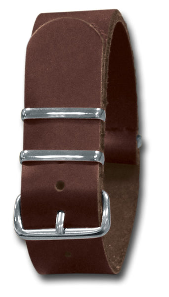 LEATHER NATO STYLE WATCH STRAP - BROWN