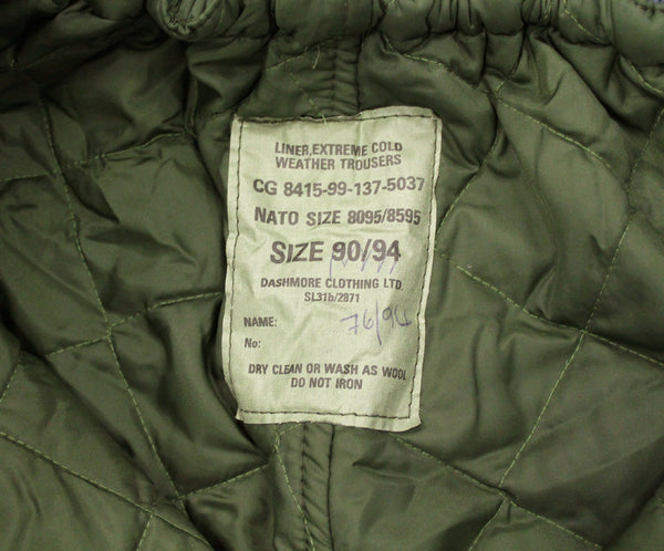 LINER FOR COLD WEATHER TROUSERS - LABEL