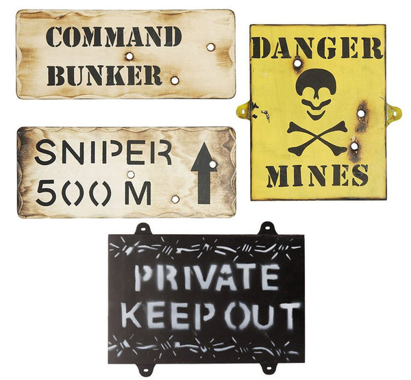 KIDS ARMY WALL SIGNS SET OF 4