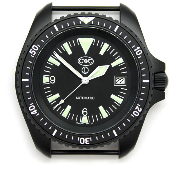 CWC BLACK AUTO DIVERS WATCH WD - FRONT