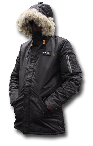 SCHOTT CROSSFIRE JACKET - BLACK, HOOD UP