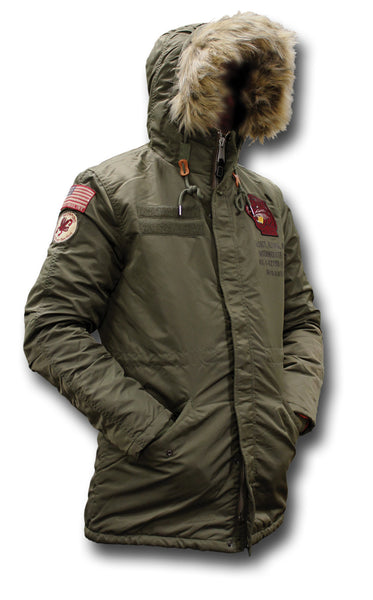 SCHOTT CROSSFIRE JACKET - KHAKI, HOOD UP