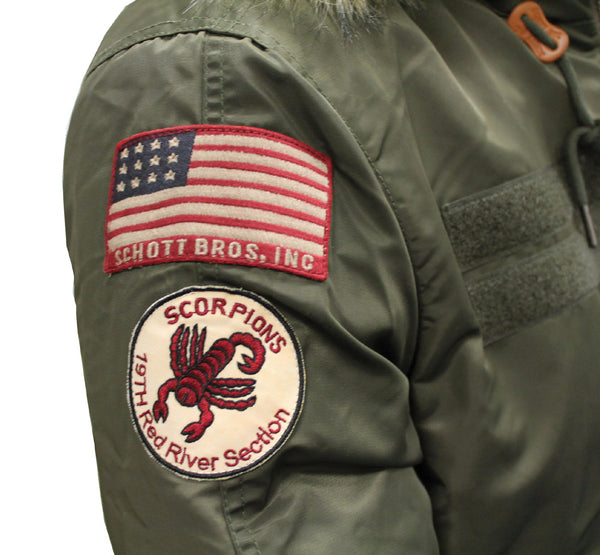 SCHOTT CROSSFIRE JACKET - KHAKI, BADGE DETAIL