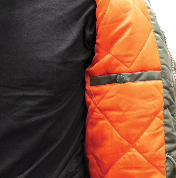 SCHOTT CROSSFIRE JACKET - KHAKI, ORANGE LINING AND POCKET