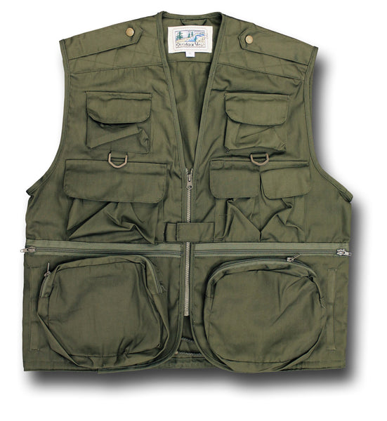 OUTDOOR TRAVEL VEST - OLIVE GREEN