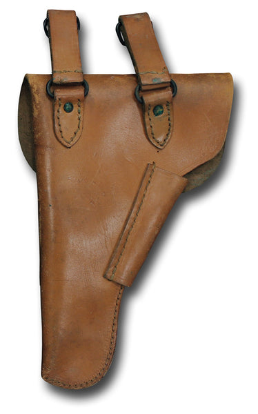 FRENCH MILITARY HOLSTER - BROWN / DOUBLE LOOP - BACK