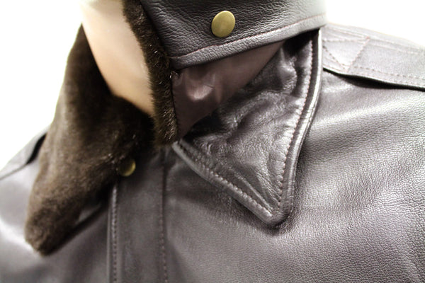 GTH A3-K BROWN LEATHER JACKET - COLLAR