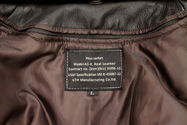 GTH A3-K BROWN LEATHER JACKET - LABEL