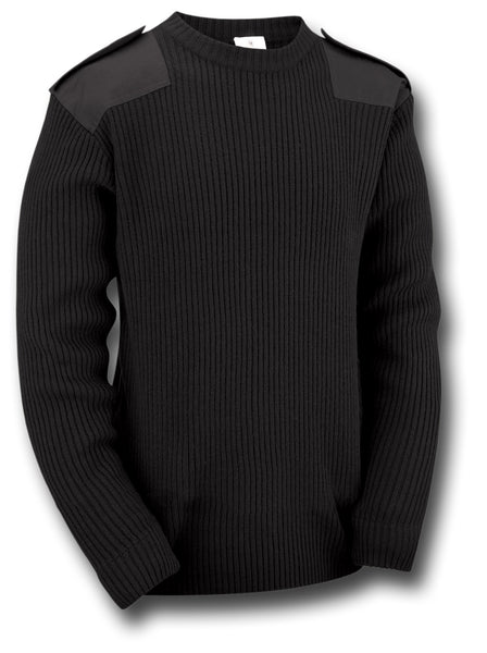 MILITARY STYLE CREW NECK SWEATER - BLACK