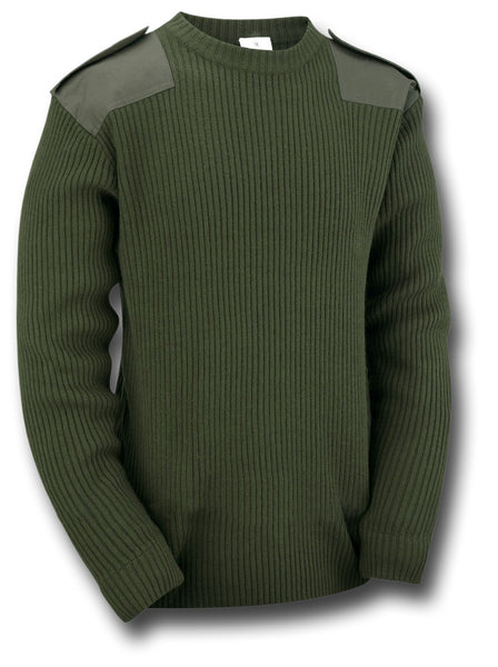 MILITARY STYLE CREW NECK SWEATER - GREEN