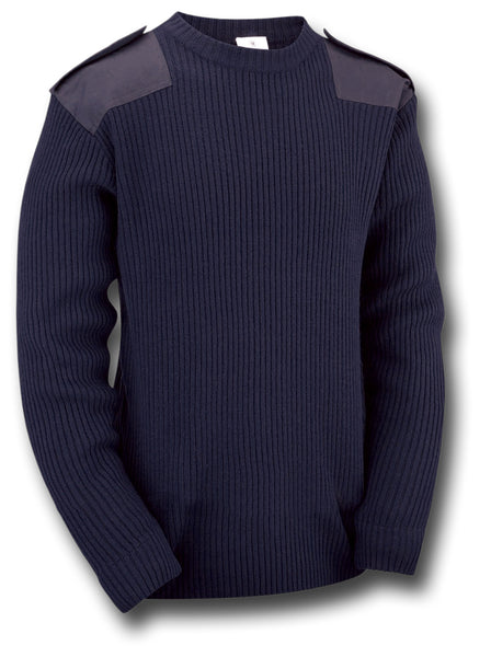 MILITARY STYLE CREW NECK SWEATER - NAVY