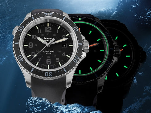 TRASER P67 SUPERSUB WATCH - BLACK, GLOWING
