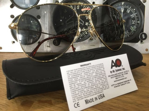 A.O. USA GOLD PILOT SUNGLASSES
