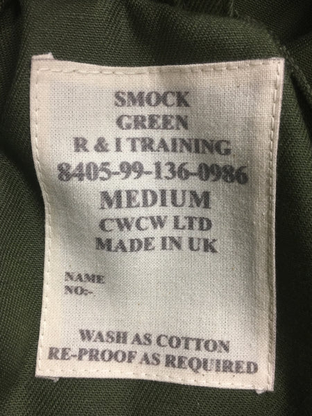 R AND I TRAINING SMOCK GREEN - LABEL