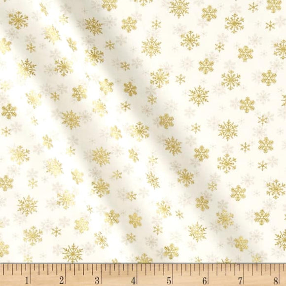 Makower UK by the 1/2 Yard, 1980 Silent Night Metallic Snowflakes Ivory