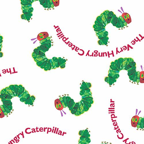 Very Hungry Caterpillar Fabric Eric Carle By The 1/2 Yard White