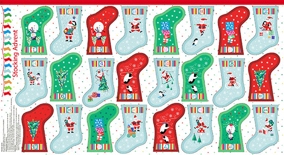 Makower UK by the 1/2 Yard, 1958 Jolly Santa Stocking Advent Calendar Panel
