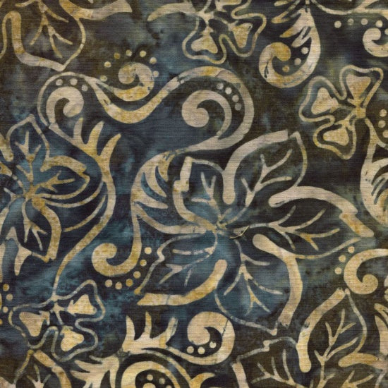 Blank Quilting Co. Fabric By The 1/2 Yard, Sumatra Batik, Brown & Blue Leaves