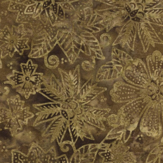 Blank Quilting Co. Fabric By The 1/2 Yard, Sumatra Batik, Brown Flowers