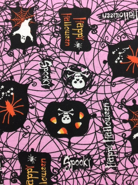 Pink Halloween Quilting Fabric By The 1/2 Yard