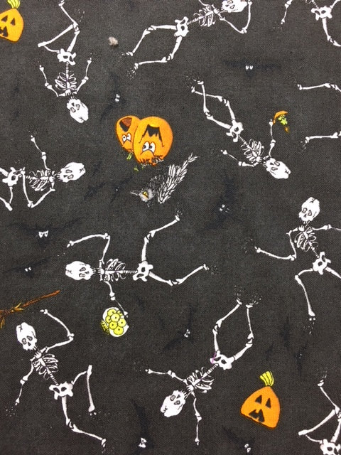 Black Halloween Quilting Fabric By The 1/2 Yard