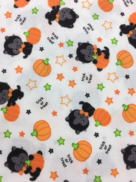 Halloween Cat Quilting Fabric By The 1/2 Yard