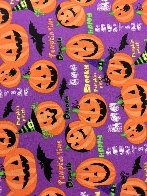 Halloween Purple Patch Quilting Fabric By The 1/2 Yard