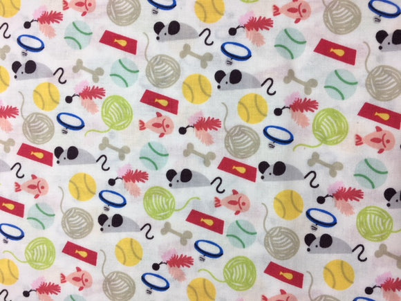 Quilting Fabric By The 1/2 Yard Maude Fabrics Cat Toys