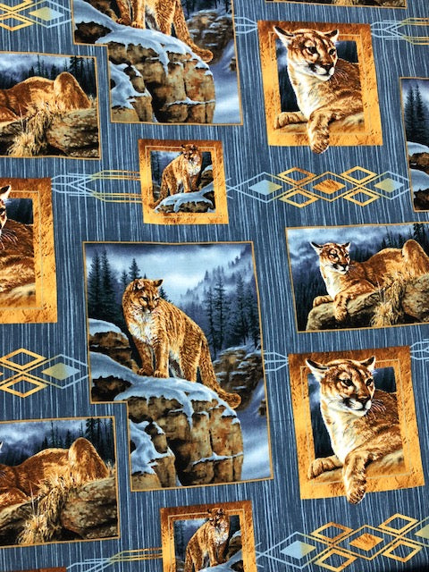 Quilting Fabric By The 1/2 Yard Wild Animals