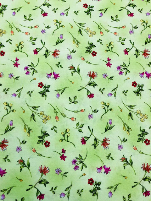 Quilting Fabric By The 1/2 Yard Paintbrush Studios Fantasia Tossed Flower Green