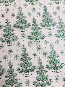 Quilting Fabric by The 1/2 Yard Anna Griffin Yuletide Green Christmas Trees
