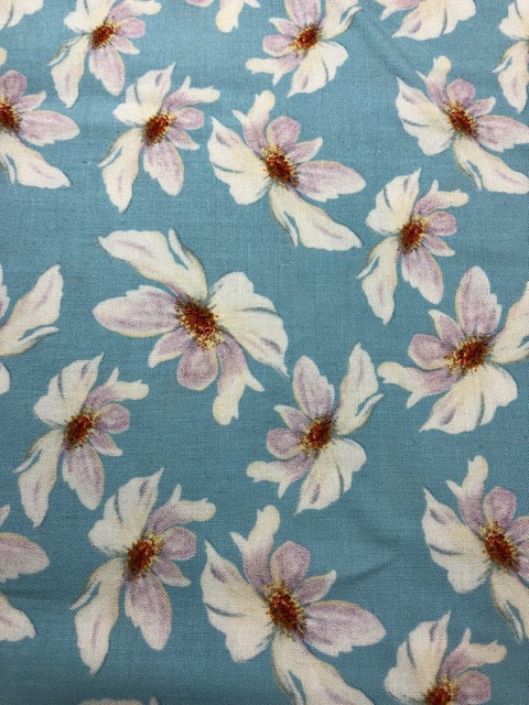 Quilting Fabric By The 1/2 Yard Nel Whatmore Rosealea  Daisy Turquoise