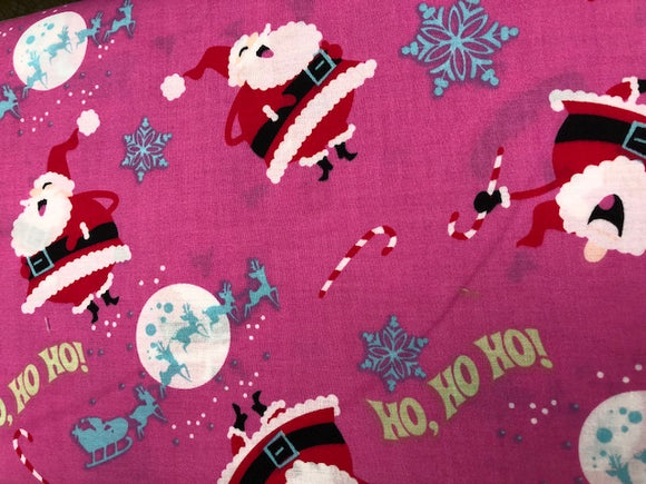 Quilting Fabric By The 1/2 Yard Christmas Quilting Fabric Pink Santa
