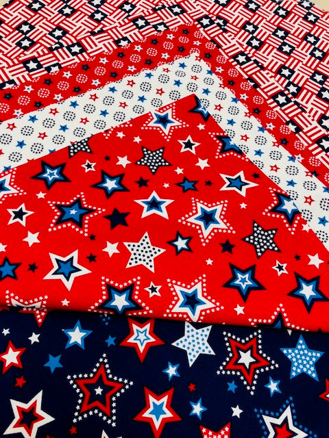 5 Quilting Fabric Fat Quarters Studio E Red White & Starry Blue