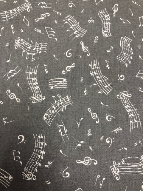 Blank Quilting Fabric Tutus & Toe Shoes Music Notes by the 1/2 yard