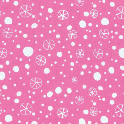 Free Spirit Quilting Fabric By 1/2 The Yard David Walker Christmas Snowflakes Pink