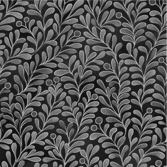 Oasis Quilting Fabric By The 1/2 Yard Romance Gold Silver Leaves on Black