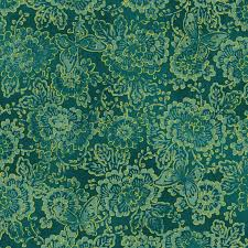 Oasis Quilting Fabric By The 1/2 Yard Asian Garden Flowers Metallic Gold