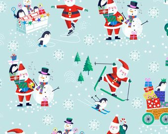 Andover by the 1/2 Yard, Jolly Santa, Blue Scenic Santa