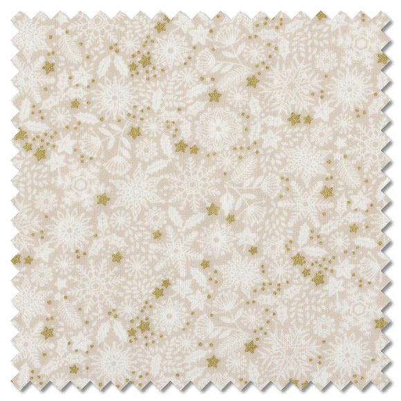 Makower UK by the 1/2 Yard, 1980 Silent Night Metallic Tonal Stars Ivory