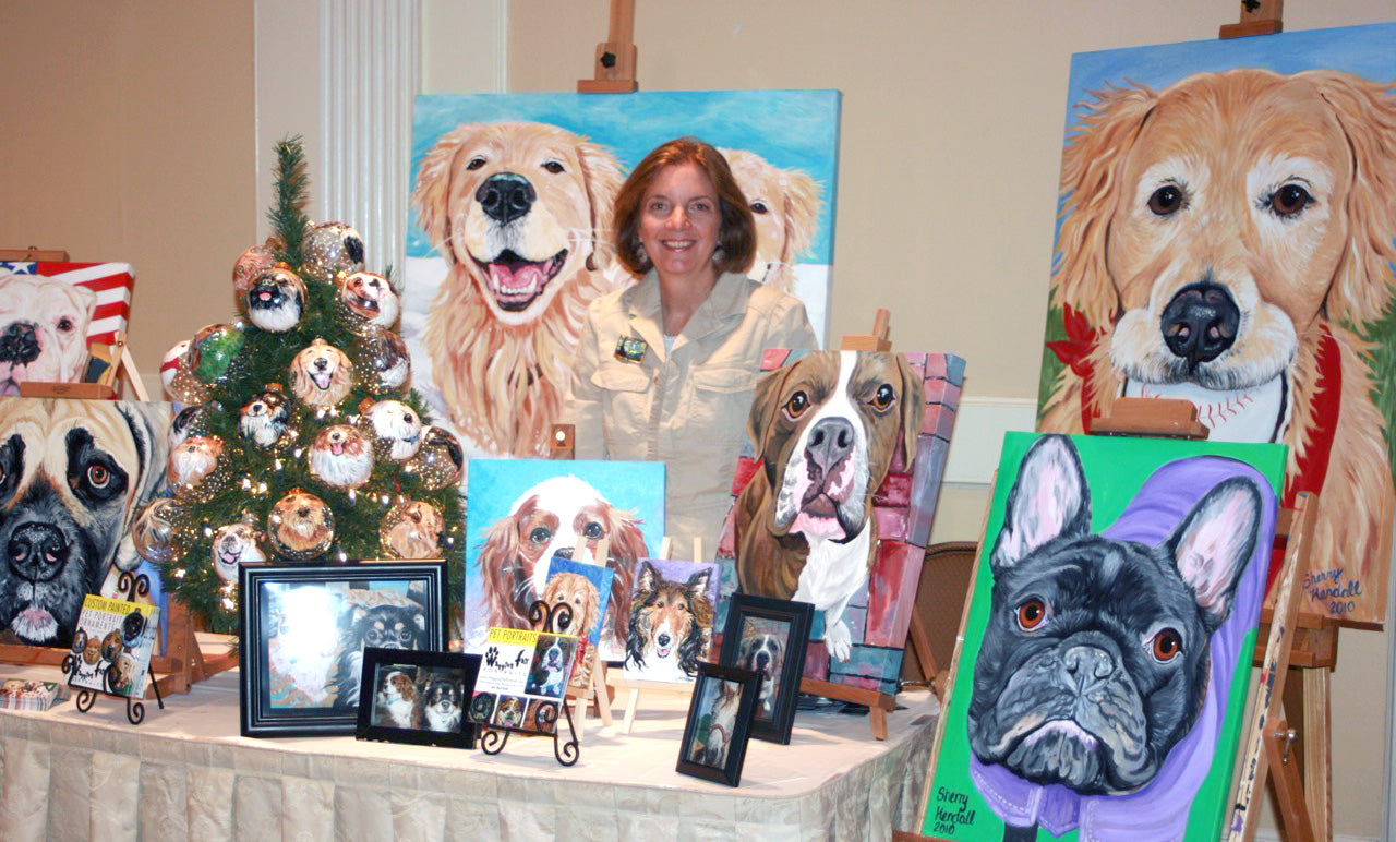 Pet Portraits Custom Hand-Painted - Illustrated Wagging Tail Portraits
