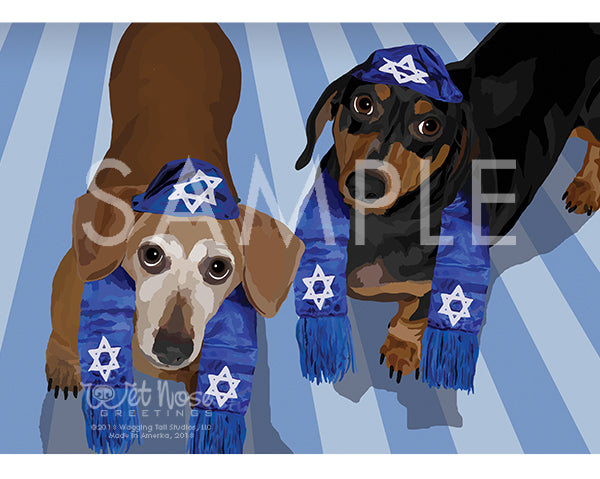Dachshunds on Hanukkah Greeting Card (Ally and Geo)