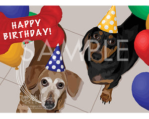 Dachshunds on Birthday Greeting Card (Ally and Geo)