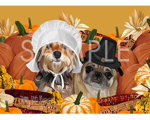 Pug and Yorkie on Thanksgiving Greeting Card (Bailey and Gizmo)
