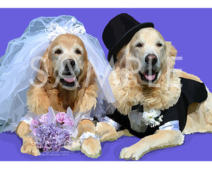Golden Retrievers Wedding on Purple Greeting Card (Bri and Bentley)